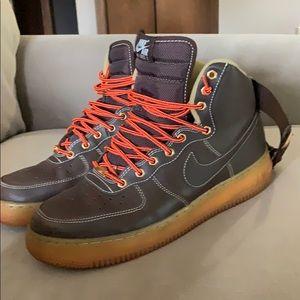 Size 9.5 Air Force Brown & orange Nike Air Force 1